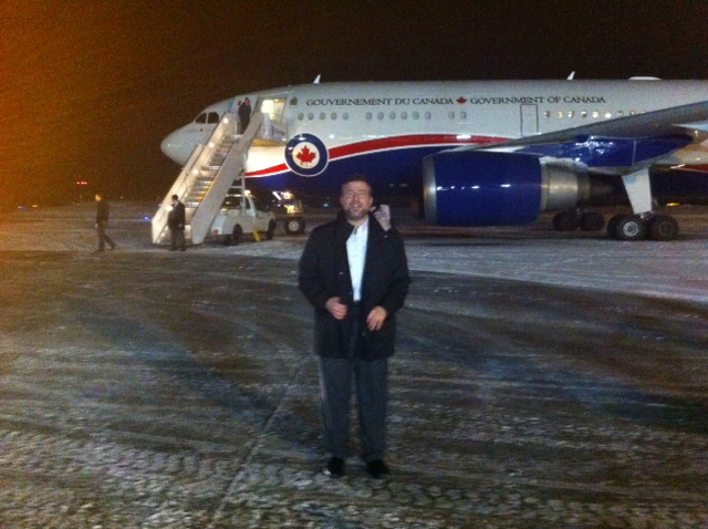 Getting Ready to Board the PM's Plane