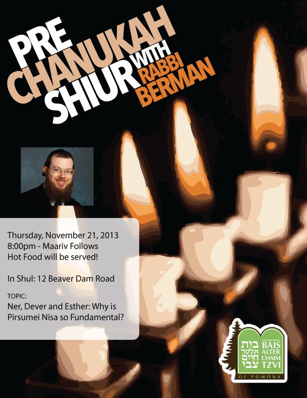 Pre-Chanukah Shiur with Rabbi Berman
