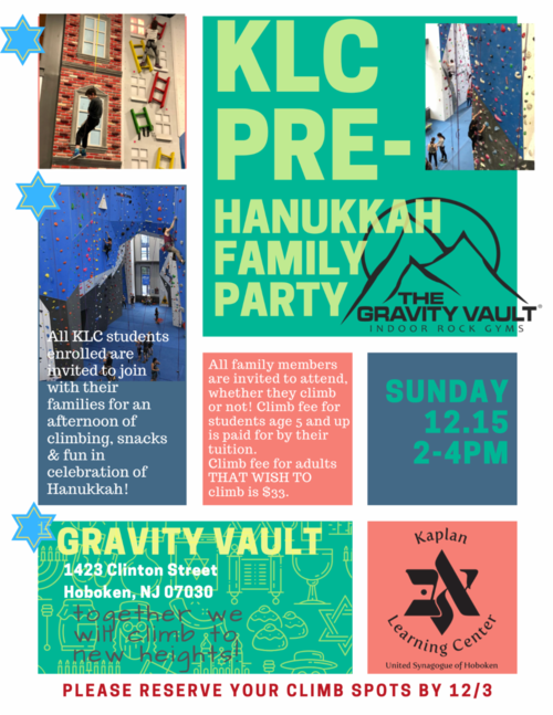 Banner Image for KLC Pre-Hanukkah Family Party at the Gravity Vault!