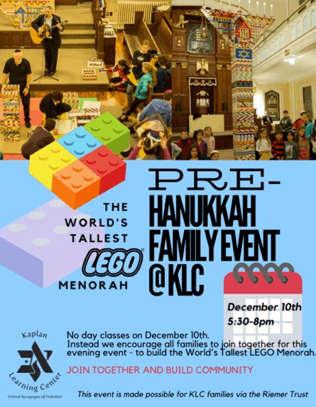 Banner Image for KLC Pre-Hanukkah Event - Come Build the World's Tallest LEGO Menorah!