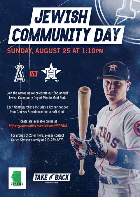 Astros Jewish Community Day Information