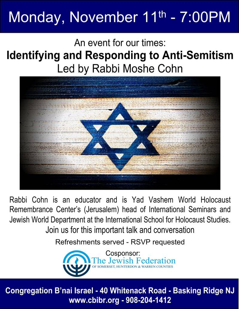 Banner Image for An event for our times: Identifying and Responding to Anti-Semitism Led by Rabbi Moshe Cohn