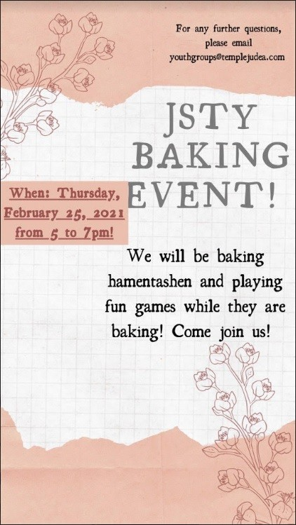 Banner Image for JSTY Purim Baking Party!