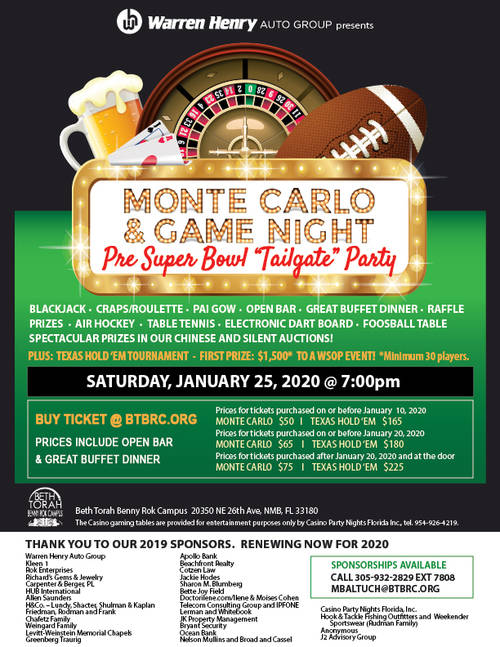 Banner Image for Monte Carlo & Game Night Pre Super Bowl Tailgate Party