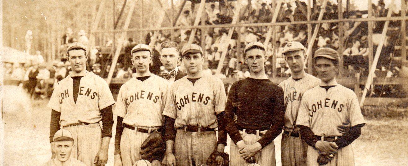 "<span class=""slider_title"">                                     COHEN COMPANY BASEBALL TEAM                                </span>                                                                                                                                                                                       <span class=""slider_description"">c. 1913-1914</span>"
