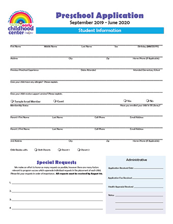 Temple Israel - Preschool Application