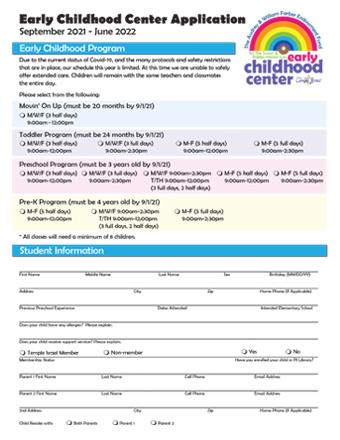 Temple Israel - Kindergarten Application