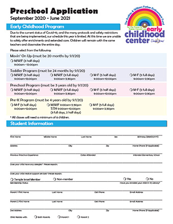 Temple Israel - Preschool Application