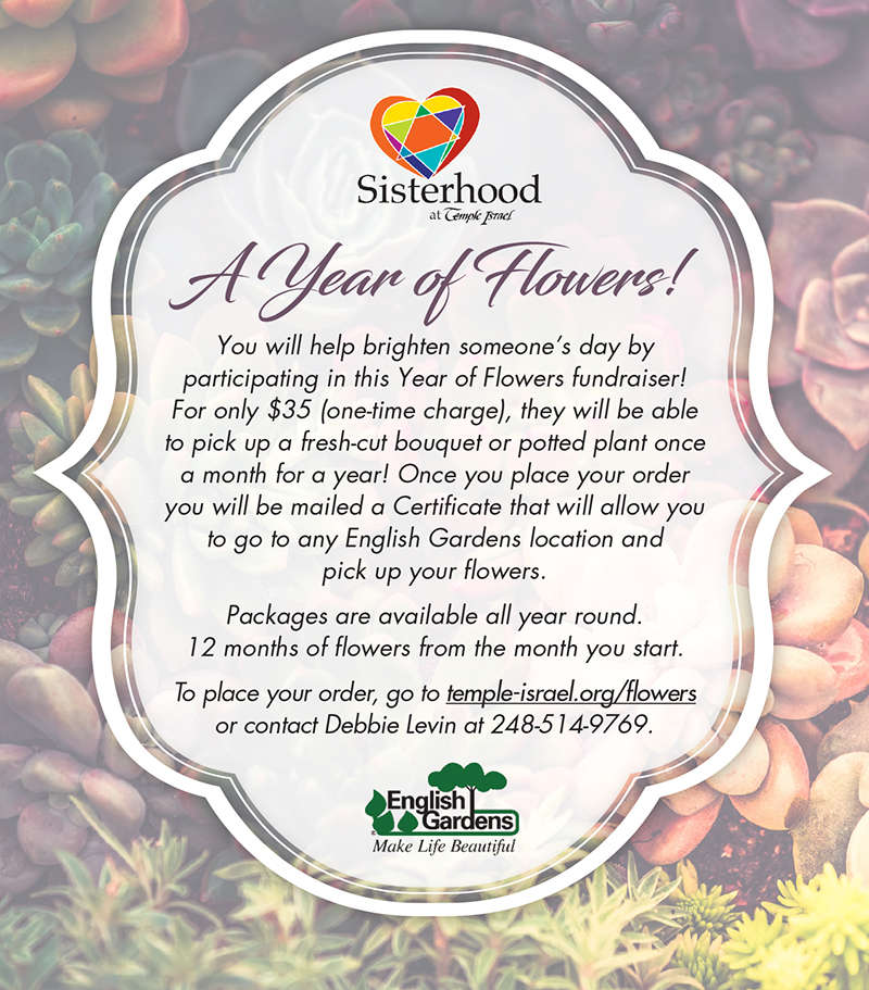 Temple Israel Sisterhood - A Year of Flowers Fundraiser