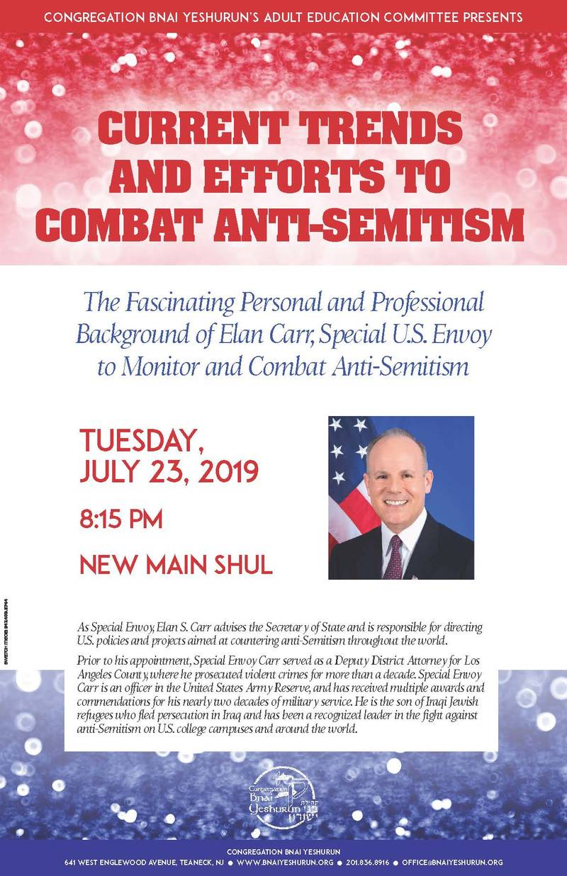 Banner Image for Adult Ed Event: Elan Carr, Special U.S. Envoy to Monitor & Combat Anti-Semitism