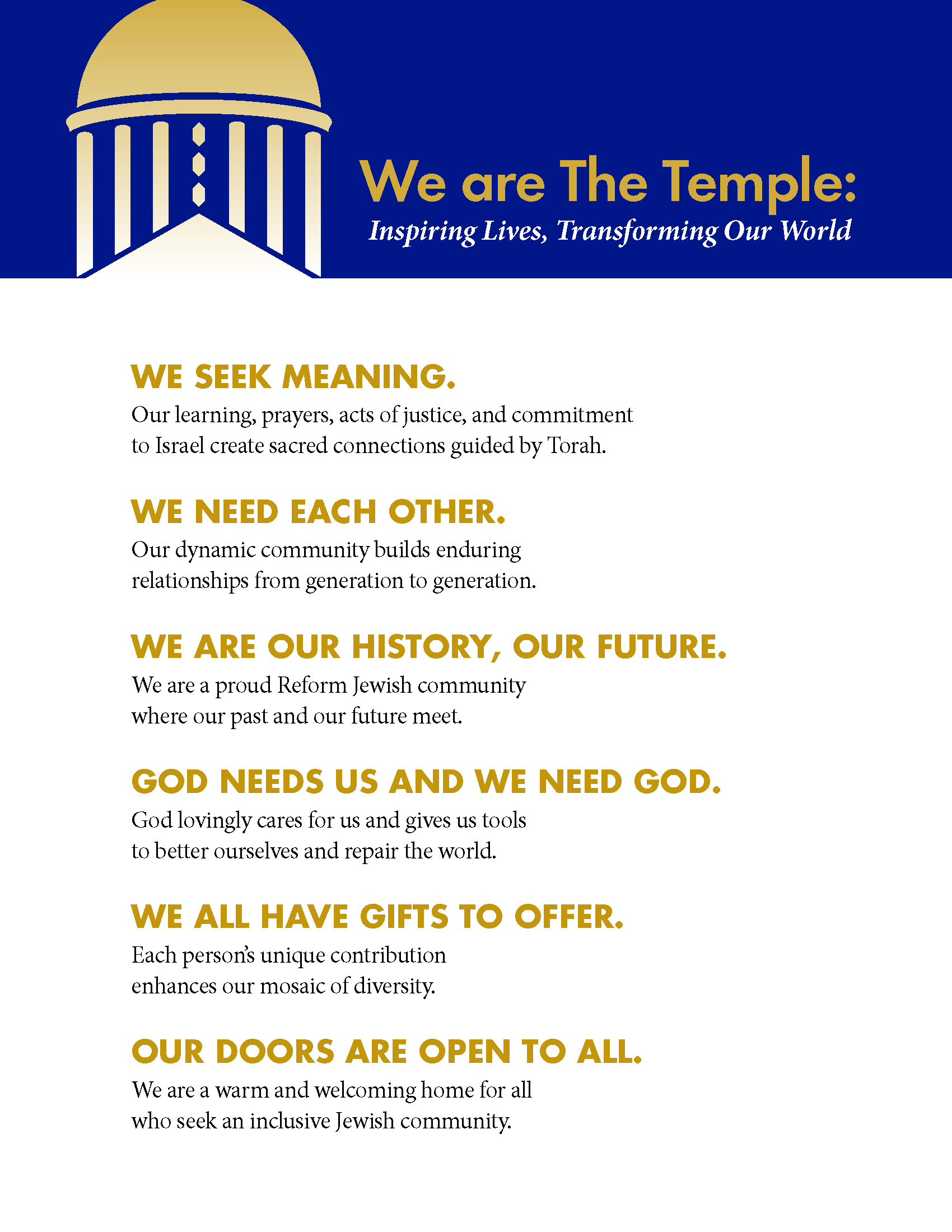 Vision & Values - The Temple