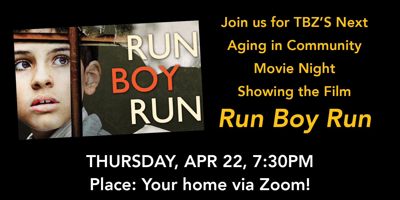 """<a href=""""https://tinyurl.com/TBZAICMovies""""                                     target=""""_blank"""">                                                                 <span class=""""slider_title"""">                                     AIC Movie Night: Run Boy Run - April 22                                </span>                                                                 </a>                                                                                                                                                                                       <span class=""""slider_description"""">A superlative saga of courage and compassion, Run Boy Run tells the extraordinary true story of a young Polish boy's struggle to outlast the Nazi occupation and maintain his Jewish faith through his intrepid will and the kindness of others.</span>                                                                                     <a href=""""https://tinyurl.com/TBZAICMovies"""" class=""""slider_link""""                             target=""""_blank"""">                             Join here!                            </a>"""