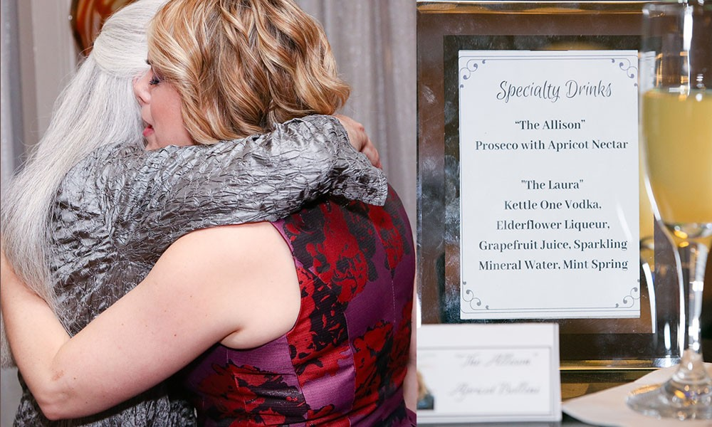 """<span class=""""slider_description"""">Rabbi Berry hugging a congregant and mouth watering specialty drinks for the occasion</span>"""