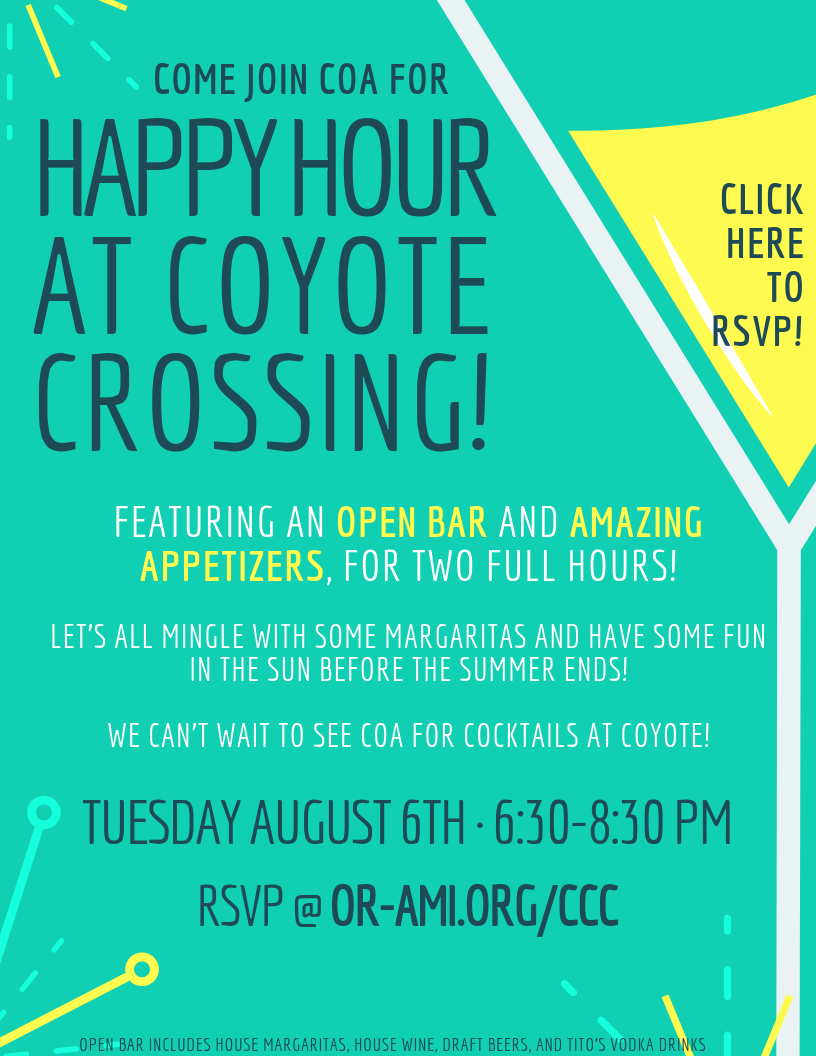 """<a href=""""https://www.or-ami.org/event/CCC""""                                     target=""""_blank"""">                                                                 <span class=""""slider_title"""">                                     Happy Hour at Coyote Crossing                                </span>                                                                 </a>                                                                                                                                                                                      <a href=""""https://www.or-ami.org/event/CCC"""" class=""""slider_link""""                             target=""""_blank"""">                             CLICK HERE TO RSVP                            </a>"""