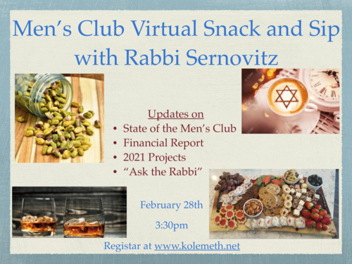Banner Image for Men's Club Snack and Sip with Rabbi Sernovitz