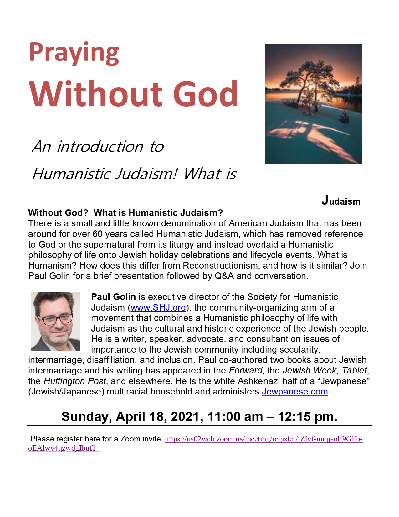 Banner Image for Praying Without God: Intro to Humanistic Judaism