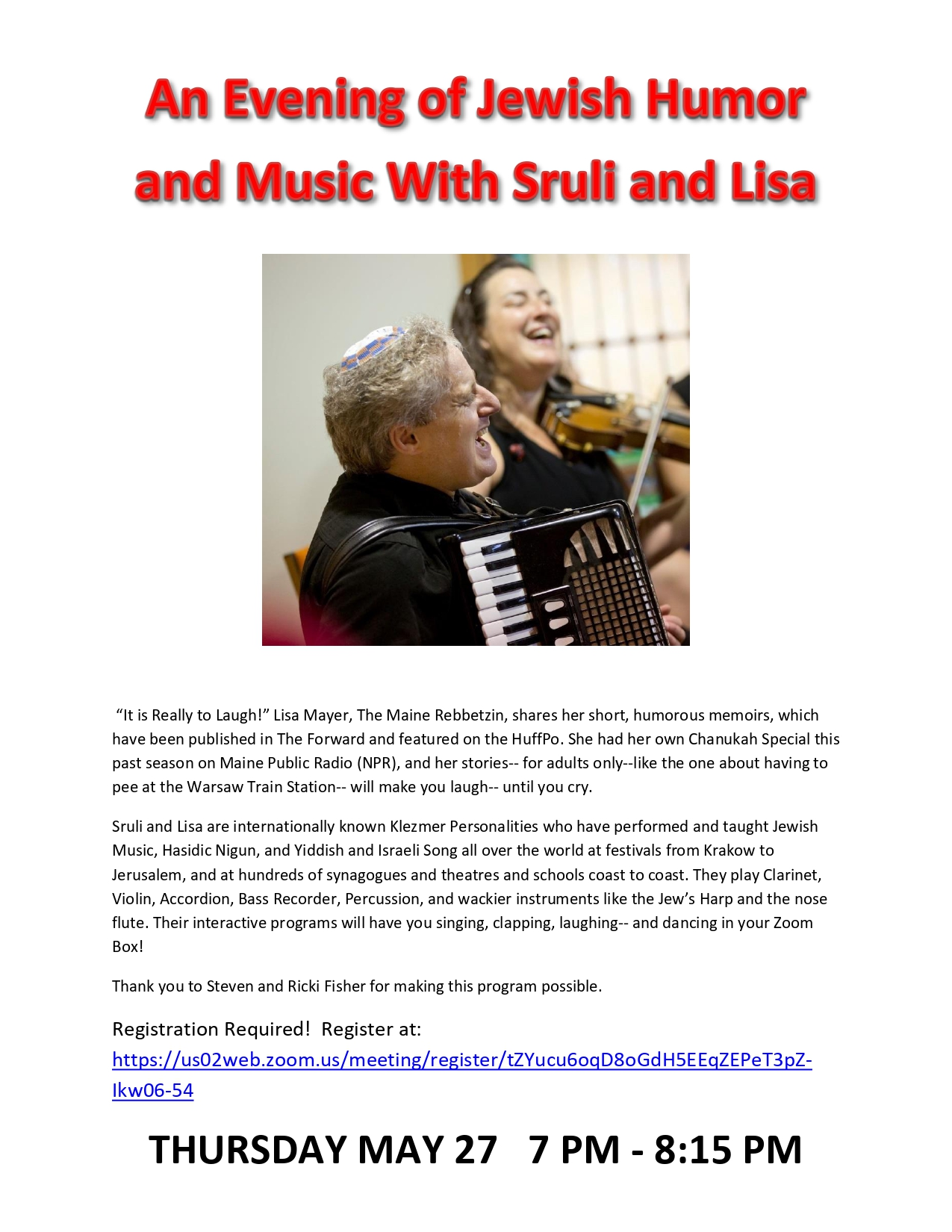 Banner Image for An Evening of Jewish Humor and Jewish Music with Sruli and Lisa