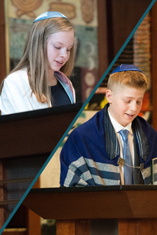 A young man and young woman speak to the congregation during their bar and bat mitzvah services.