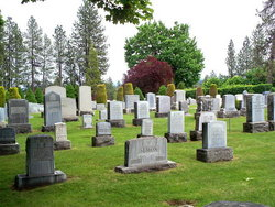 Gravestones, grass, and trees at Mount Nebo, Spokane's Jewish cemetery.