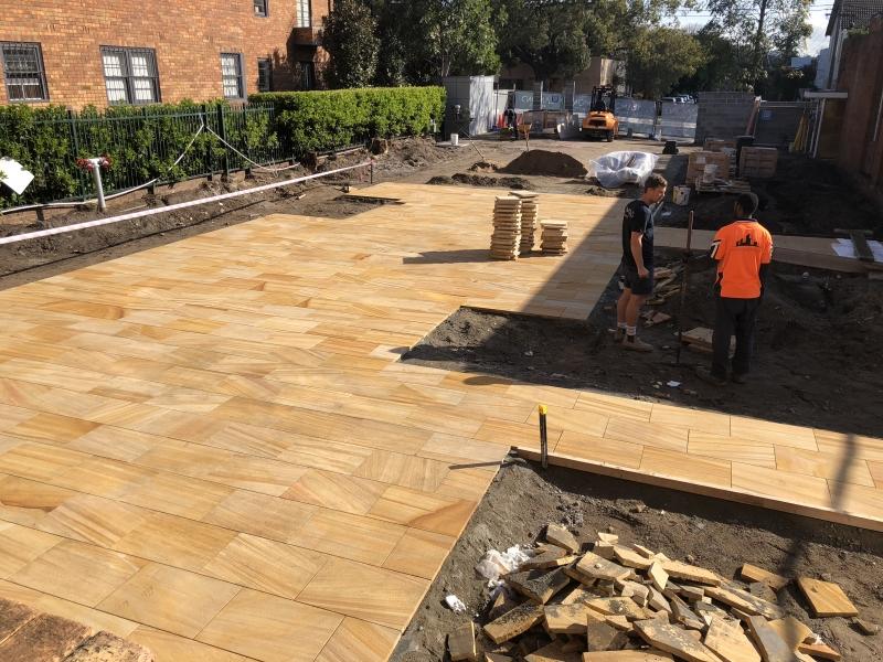 The new garden forecourt under construction