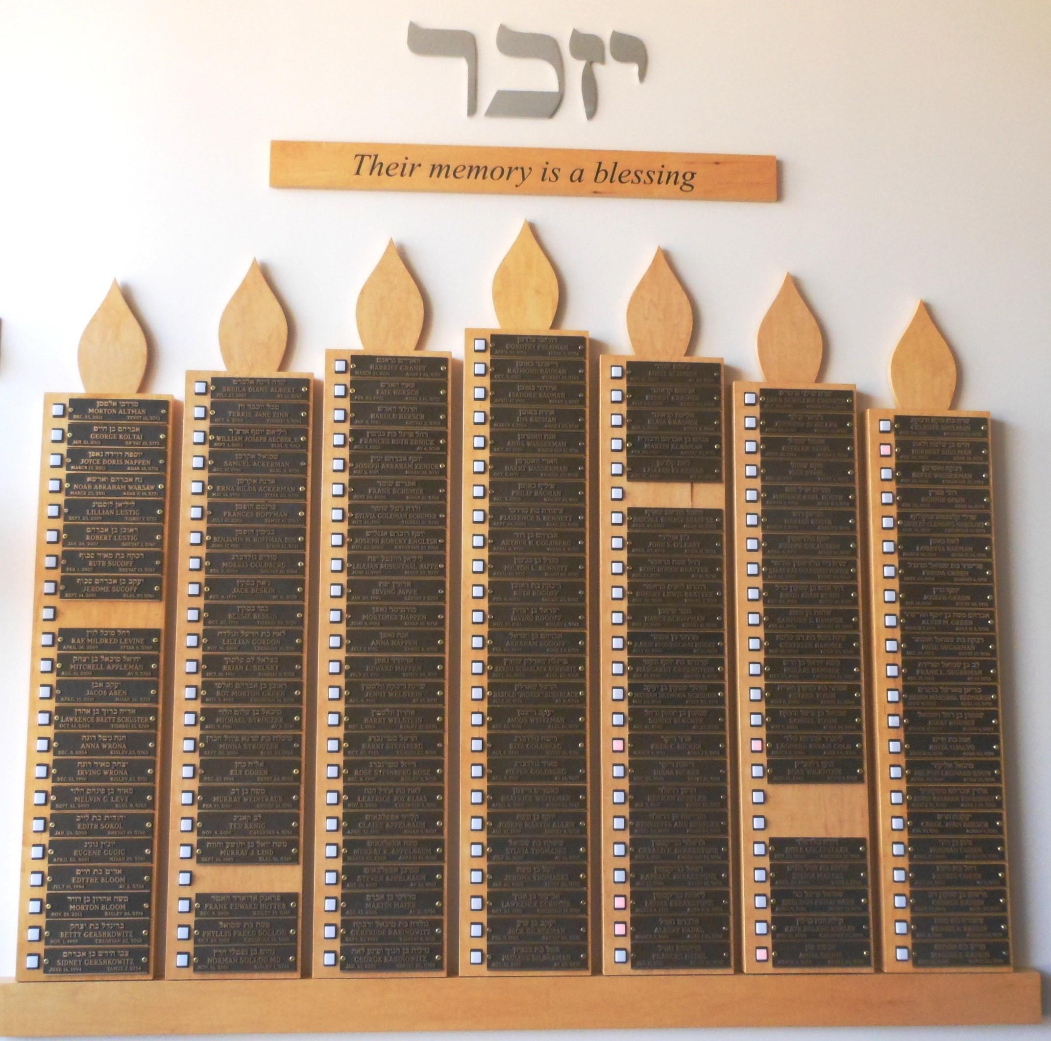 memorial board at Beth Shalom