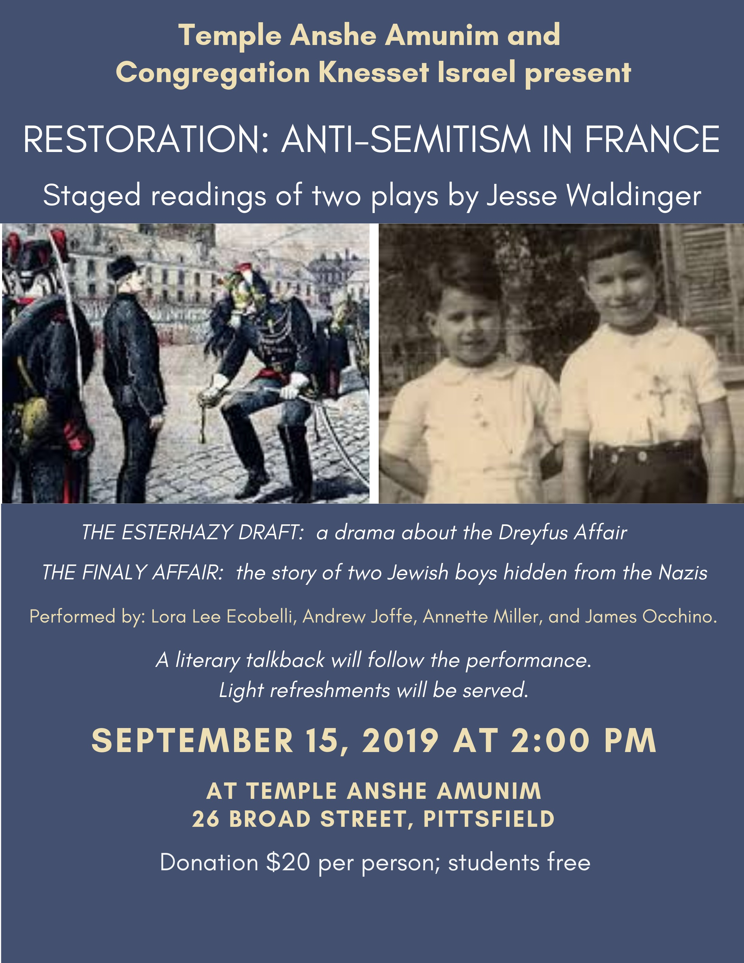 Banner Image for Restoration: Anti-semitism in France (Co-sponsored by Temple Anshe Amunim and Congregation Knesset Israel)