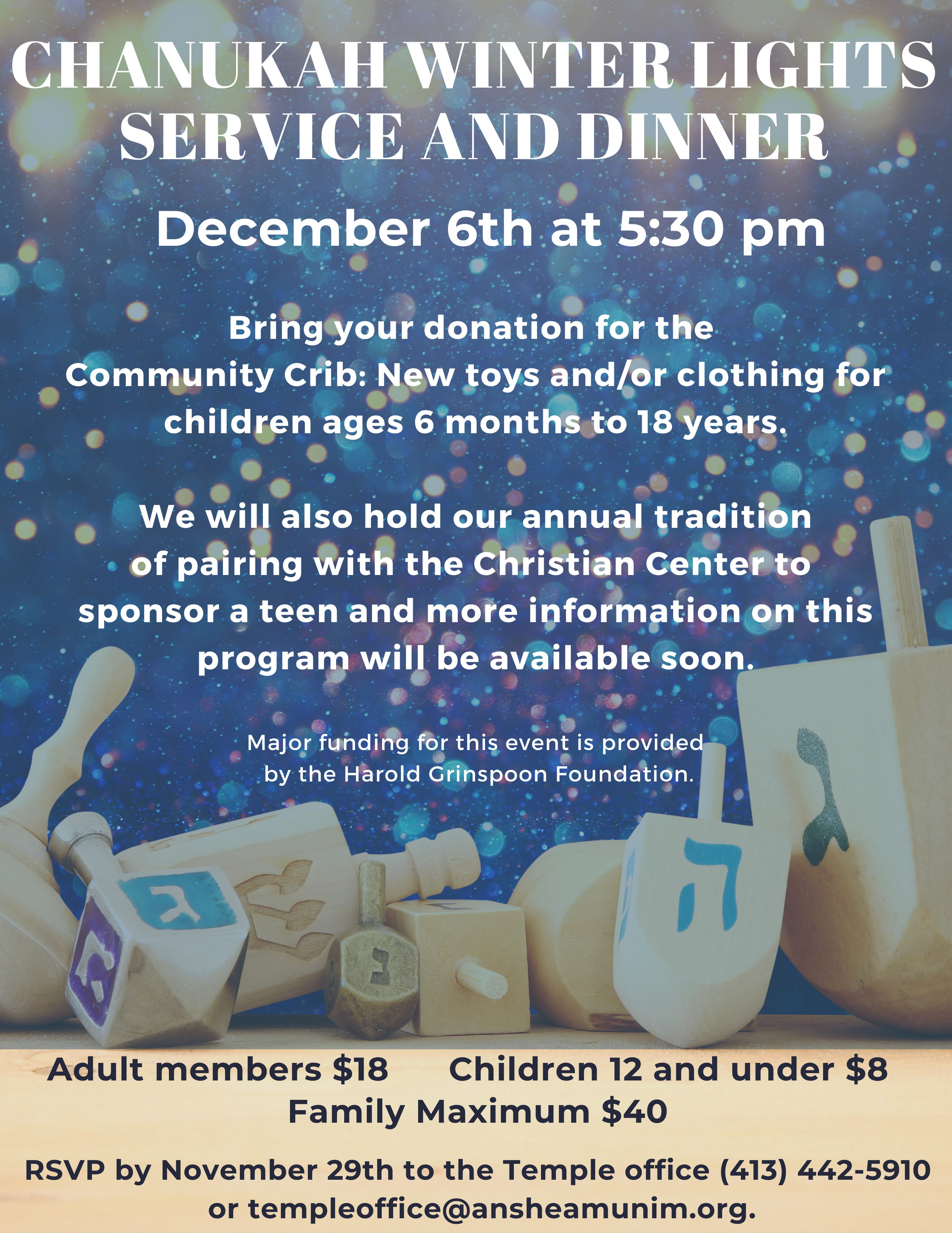 Banner Image for Chanukah Winter Lights Service and Dinner