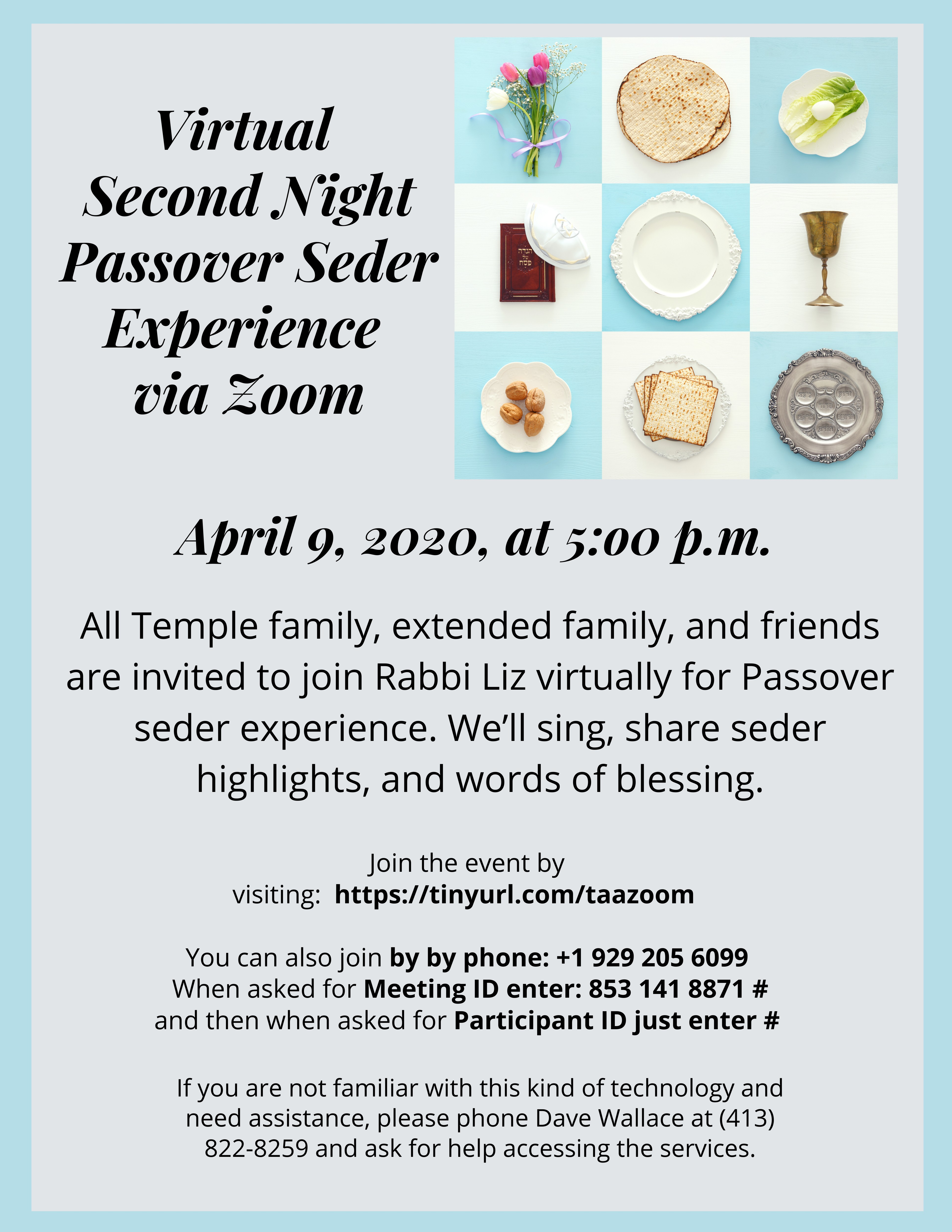 Banner Image for Virtual Passover Second Night Seder Experience