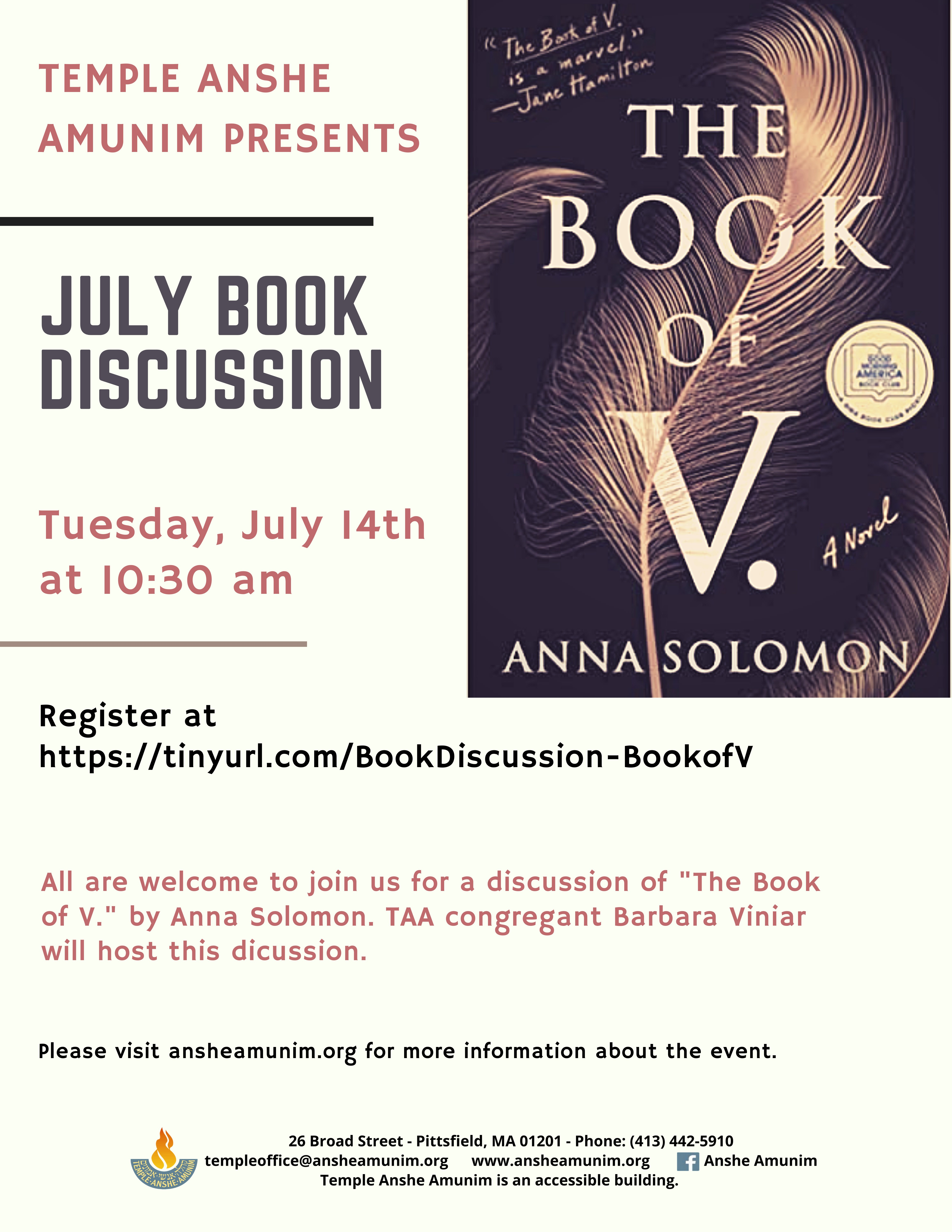 Banner Image for Book Discussion: The Book of V.