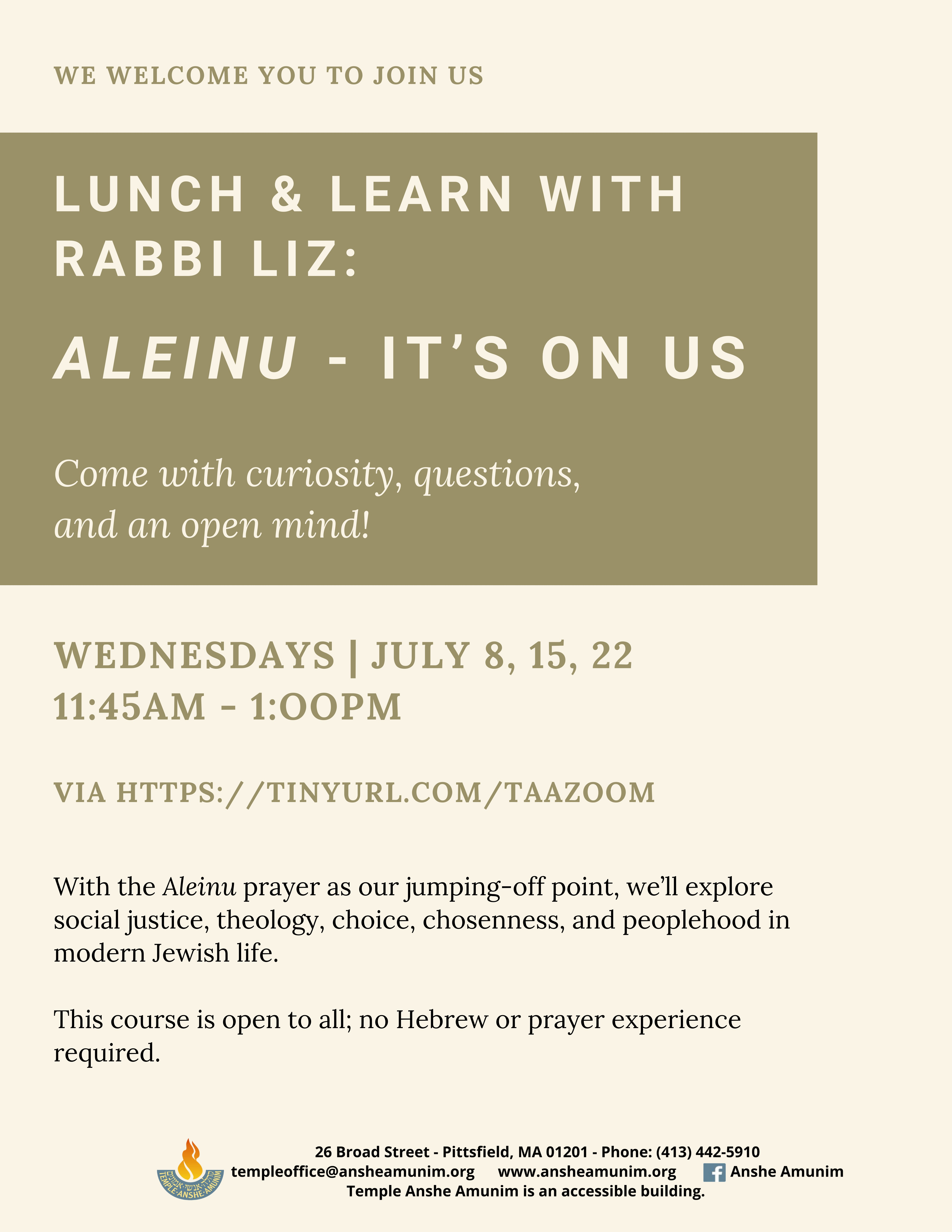 Banner Image for Lunch and Learn with Rabbi Liz: Aleinu - It's On Us