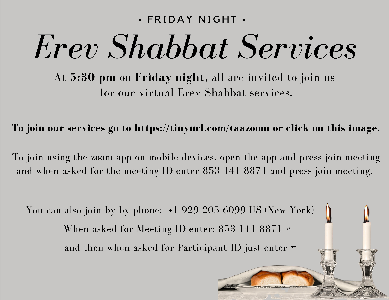 Banner Image for Virtual Erev Shabbat Services