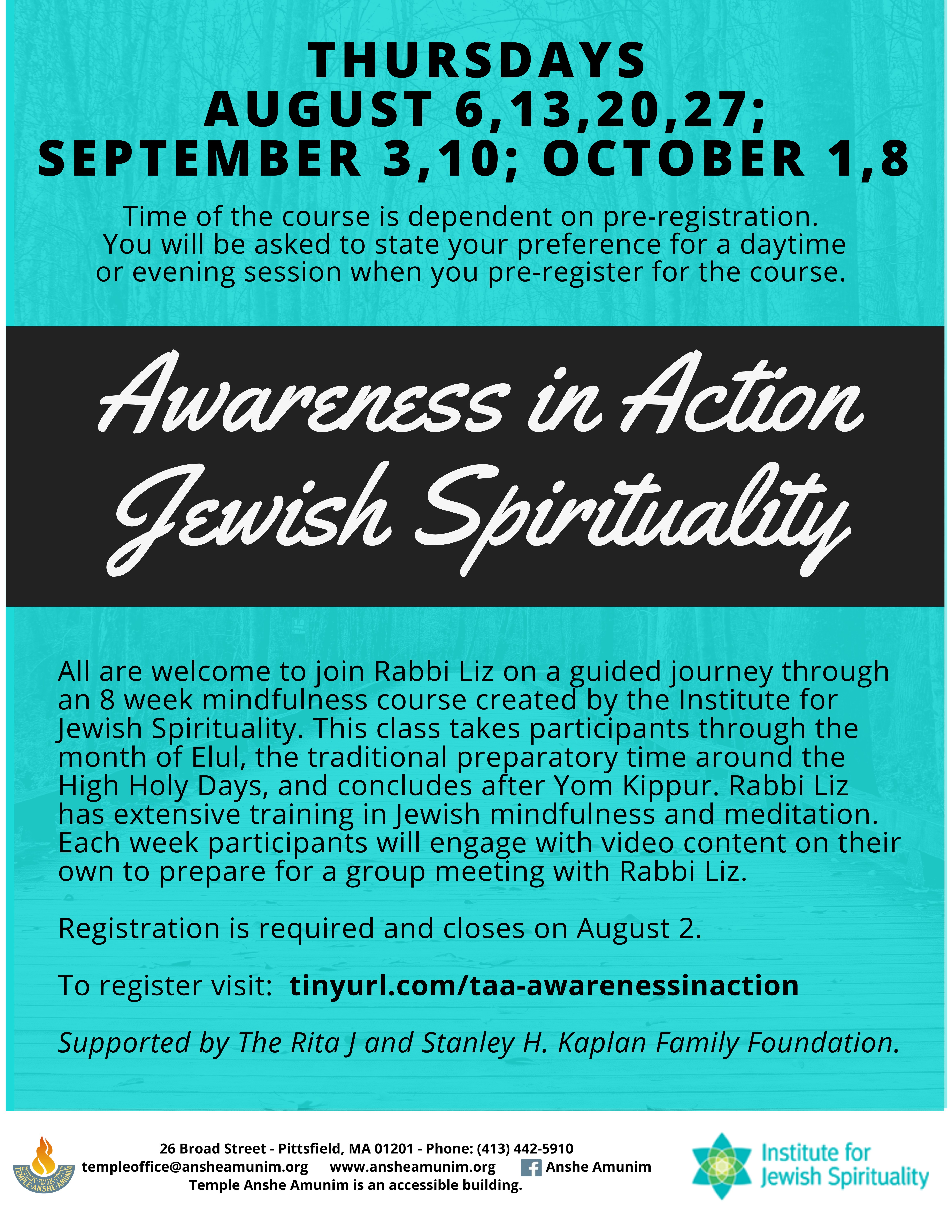 Banner Image for Awareness in Action - Jewish Spirituality