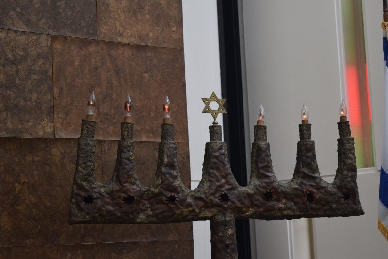 Bronze menorah designed by sculptor Ibram Lassaw