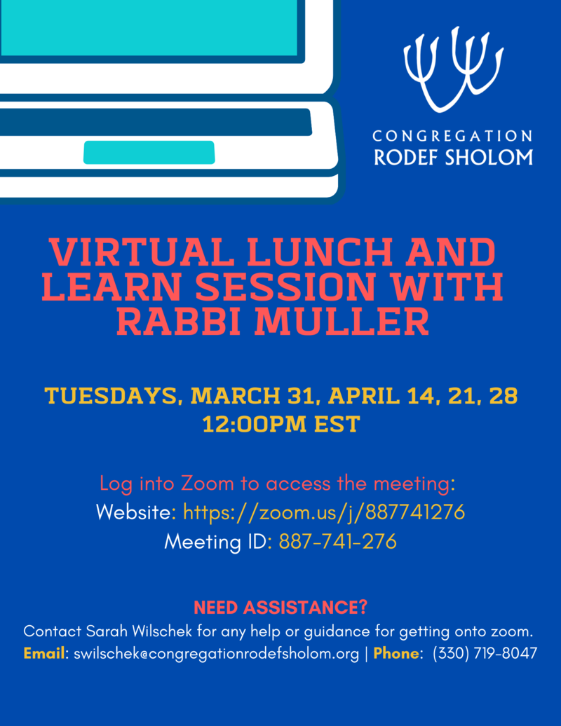 Banner Image for Virtual Lunch and Learn with Rabbi Muller