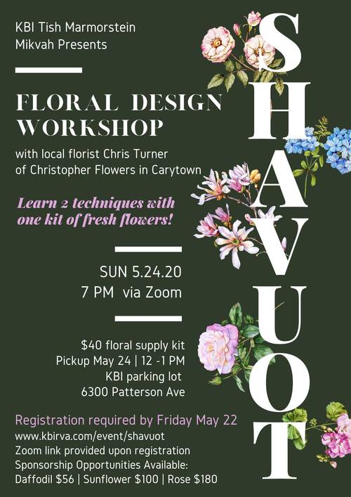Banner Image for Pre-Shavuot Floral Design Workshop 2020
