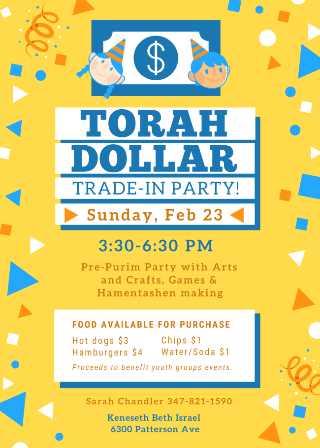 Banner Image for Torah Dollar Trade-In Party