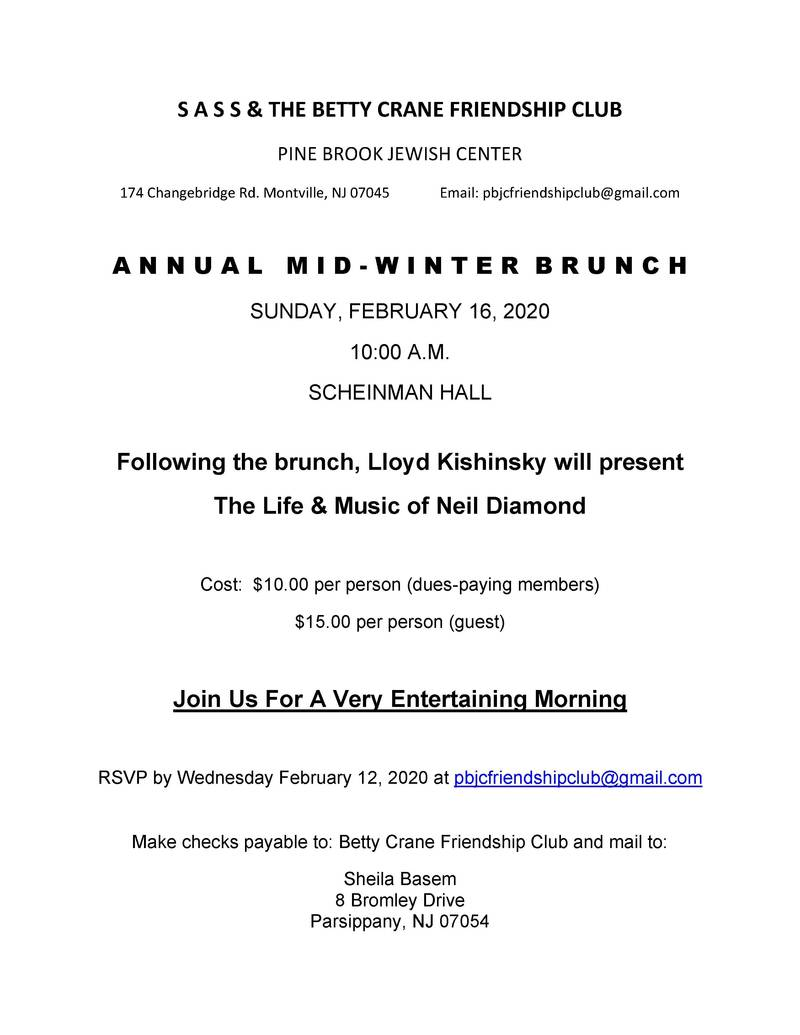 Banner Image for Betty Crane Friendship Club and SASS Mid Winter Brunch
