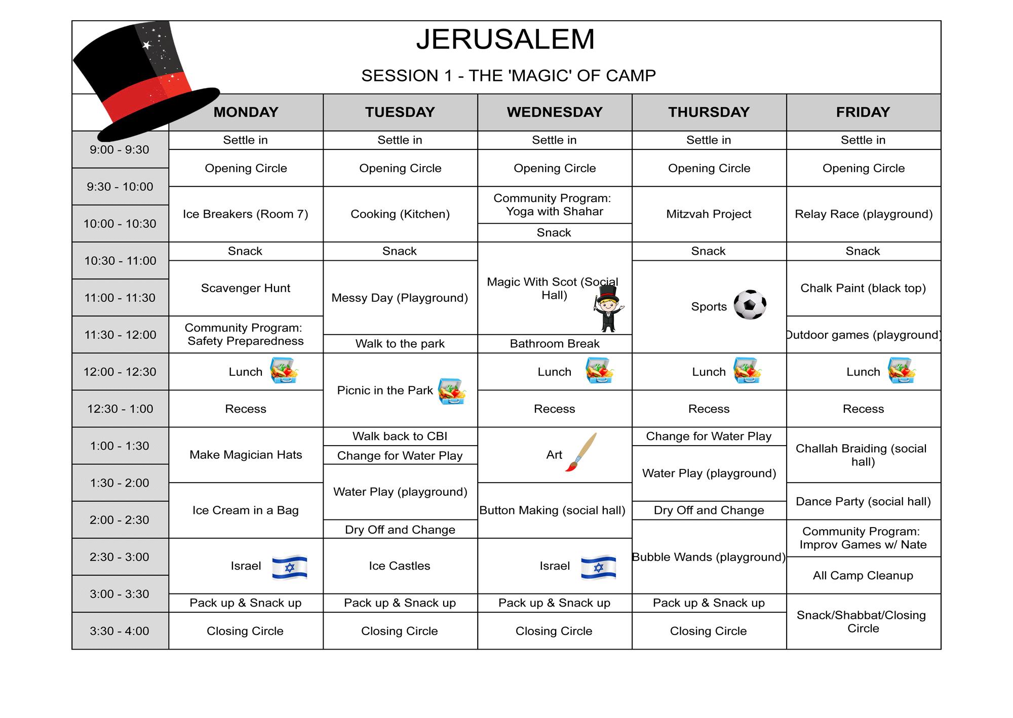 Sample schedule session 1 Jerusalem