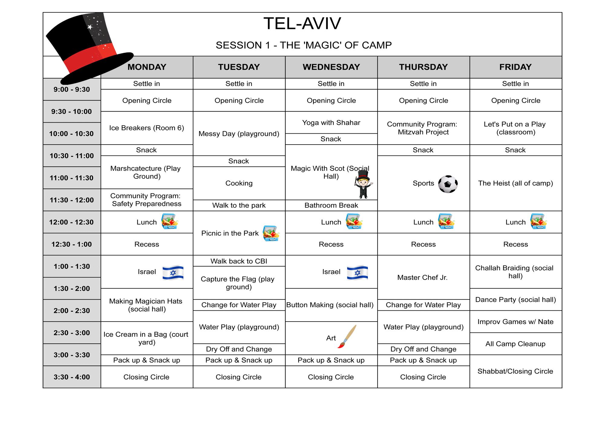 Sample Schedule session 1 Tel-Aviv