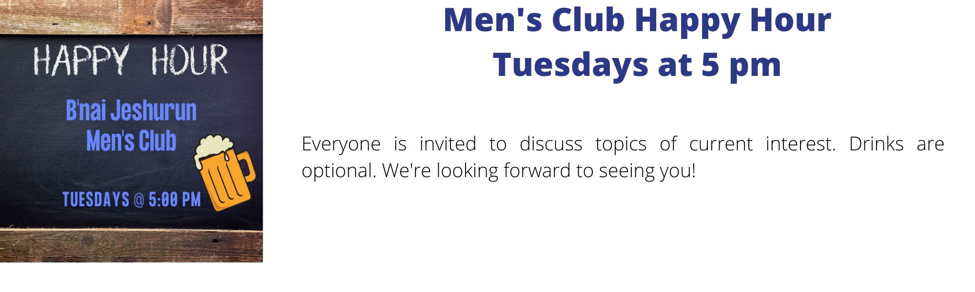 Banner Image for Men's Club Happy Hour - Topics Listed at bottom of page