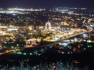Roanoke City at night