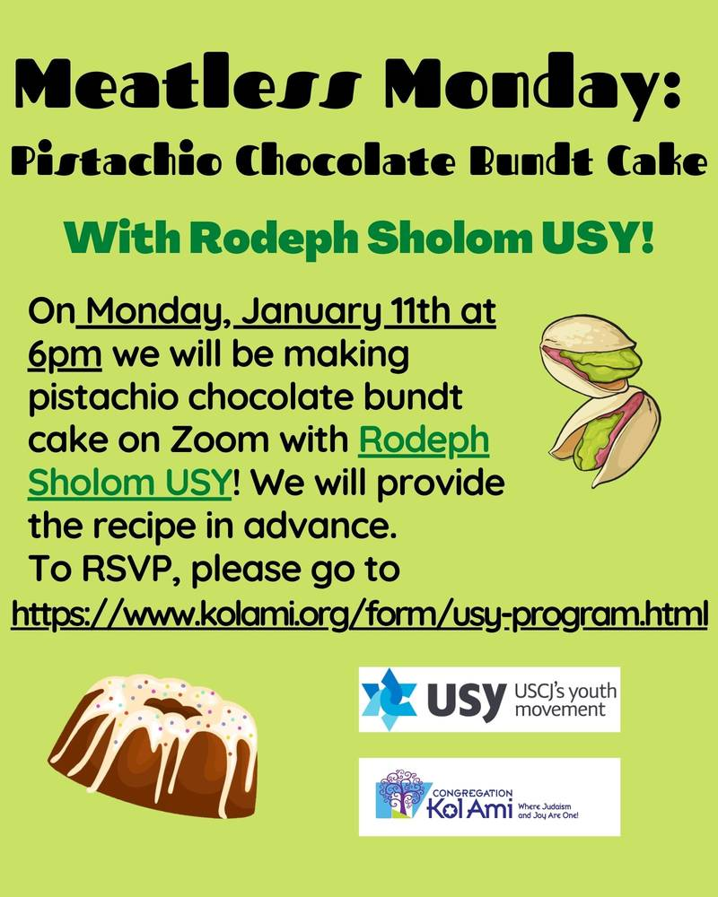 Banner Image for USY: Meatless Monday- Pistachio Chocolate Bundt Cake- Click Here for More Information