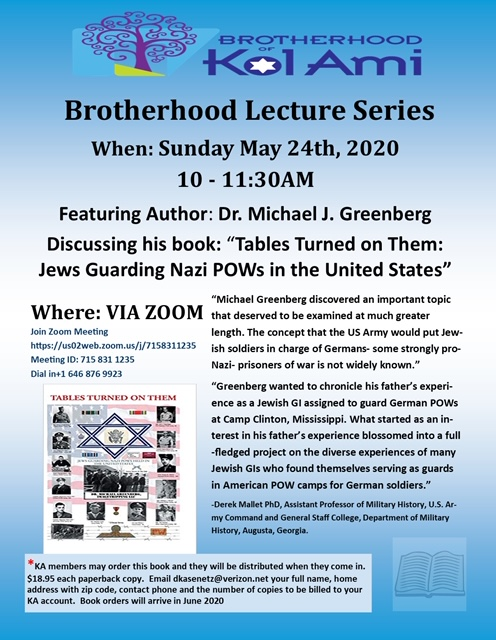 Banner Image for BROTHERHOOD LECTURE SERIES via ZOOM: Author, Dr. Michael Greenberg. CLICK HERE for Link