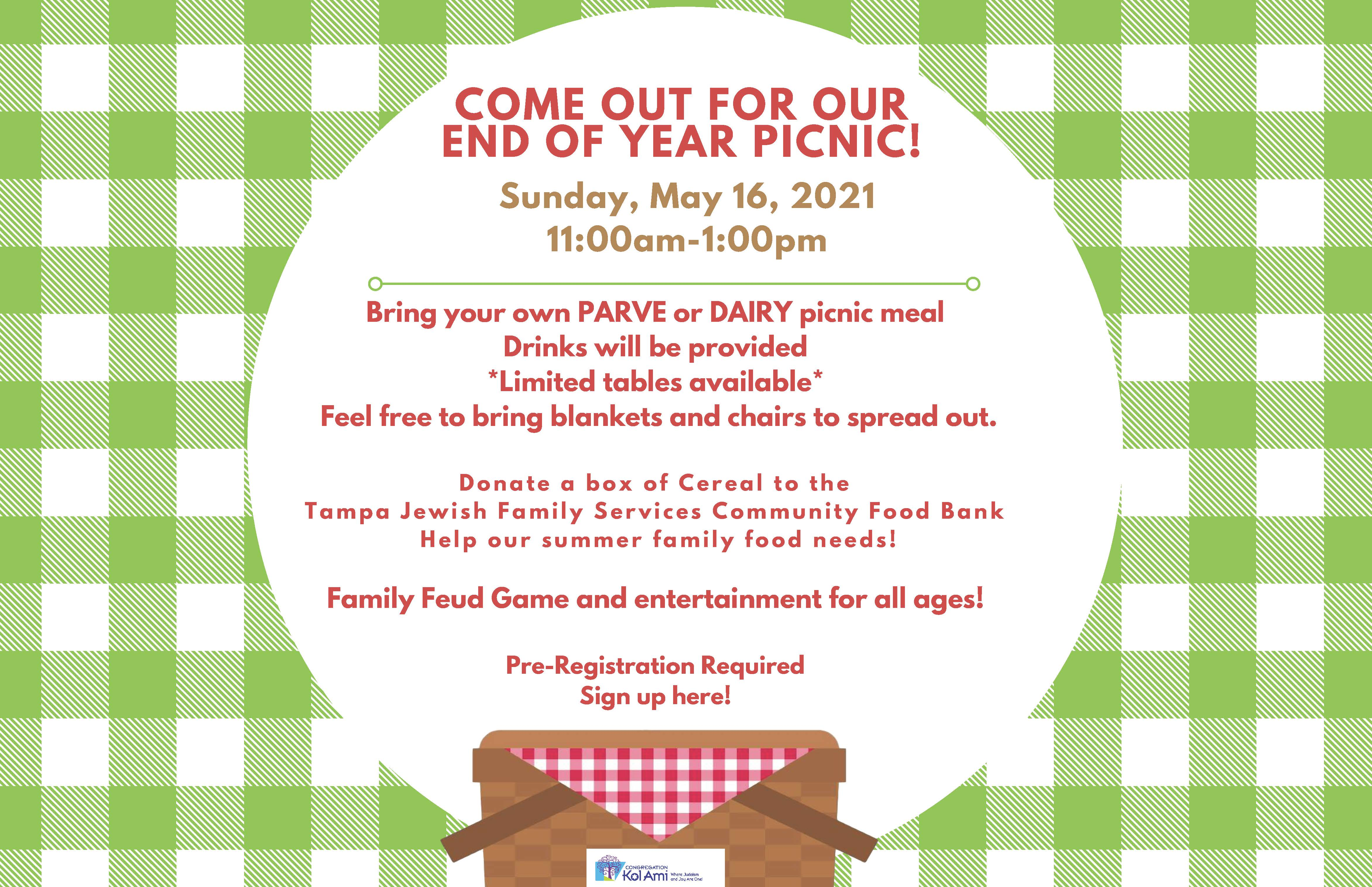Banner Image for IN- PERSON Annual Congregational End of the Year Picnic