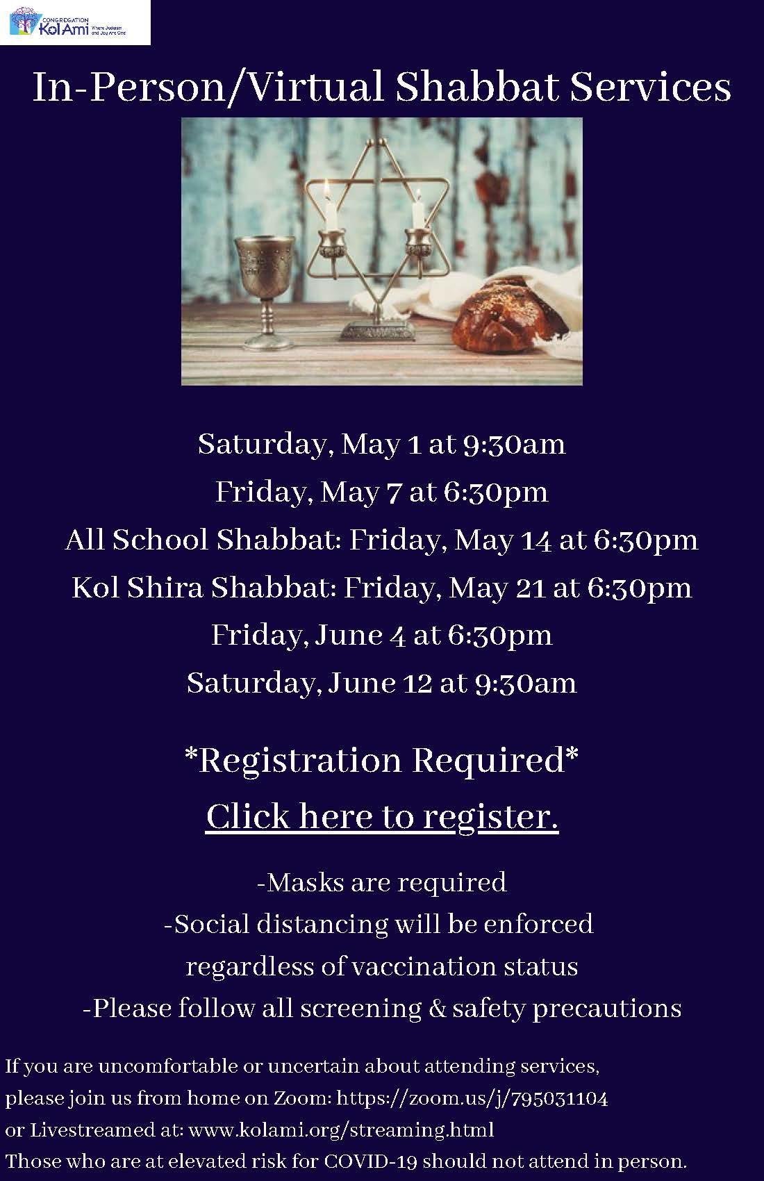 Banner Image for In- Person and Virtual Shabbat Services