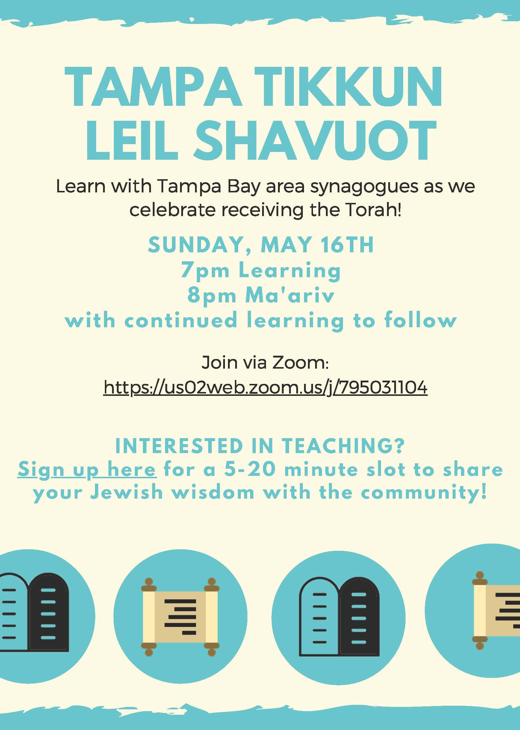 Banner Image for Virtual Tampa Tikkun Leil Shavuot :Learning and Ma'ariv Service