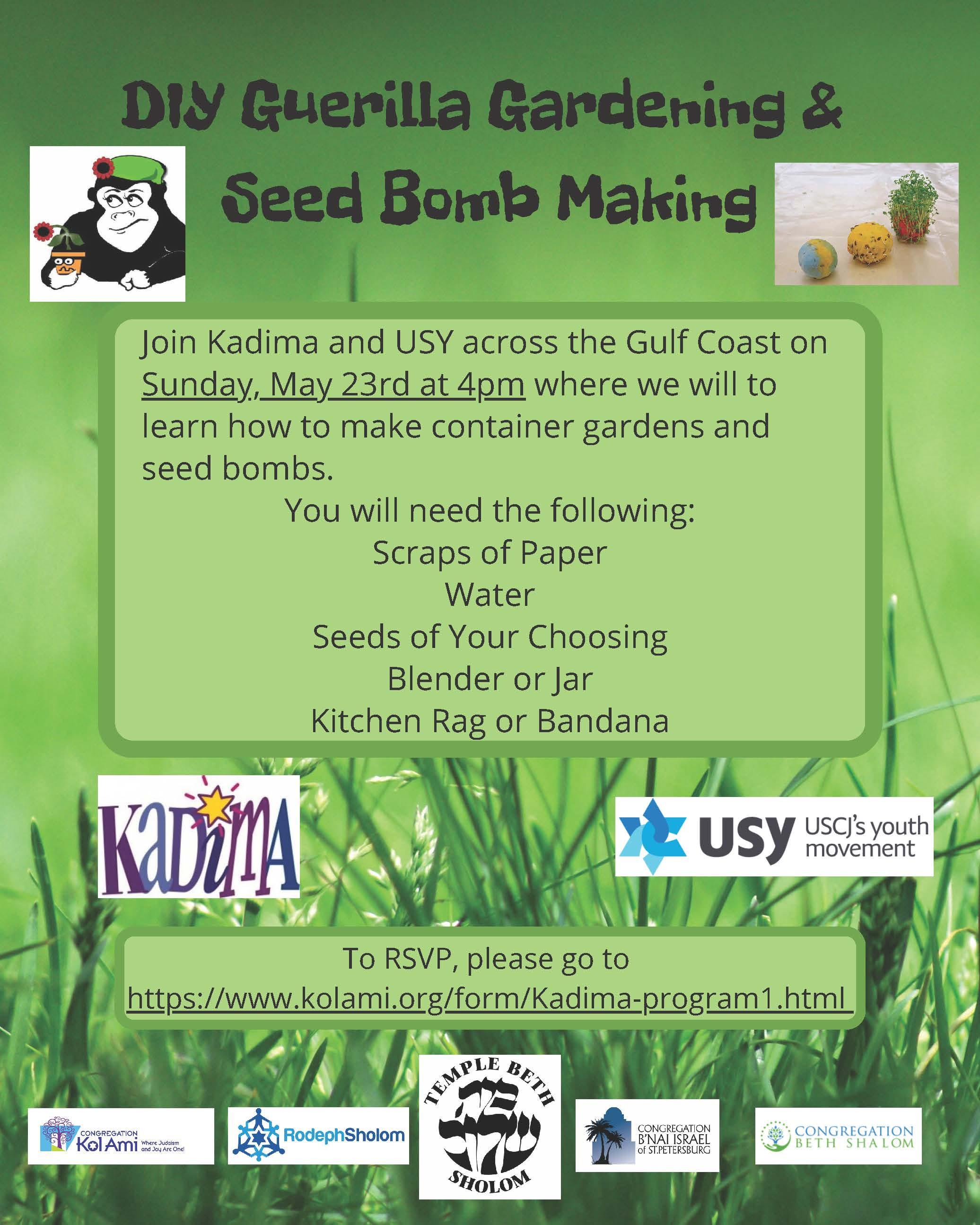 Banner Image for USY & Kadima: DIY Guerilla Gardening & Seed Bomb Making