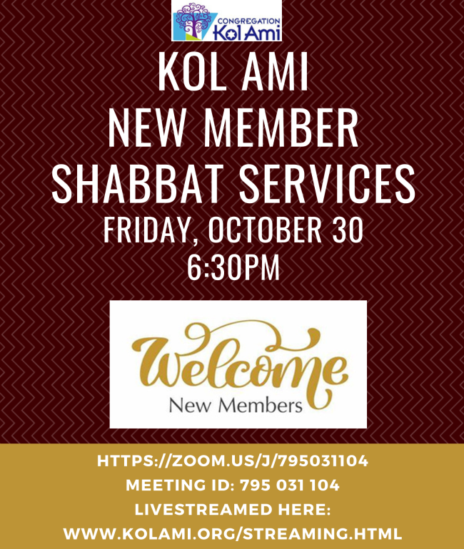 Banner Image for Virtual New Member Shabbat Services- Click Here for Zoom Link and Livestream