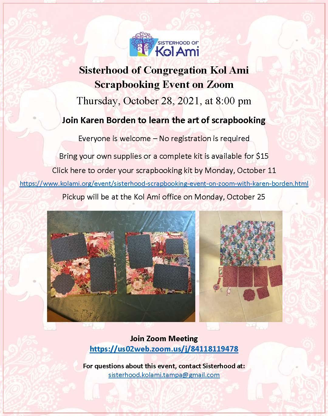 Banner Image for Sisterhood: Scrapbooking Event on Zoom with Karen Borden