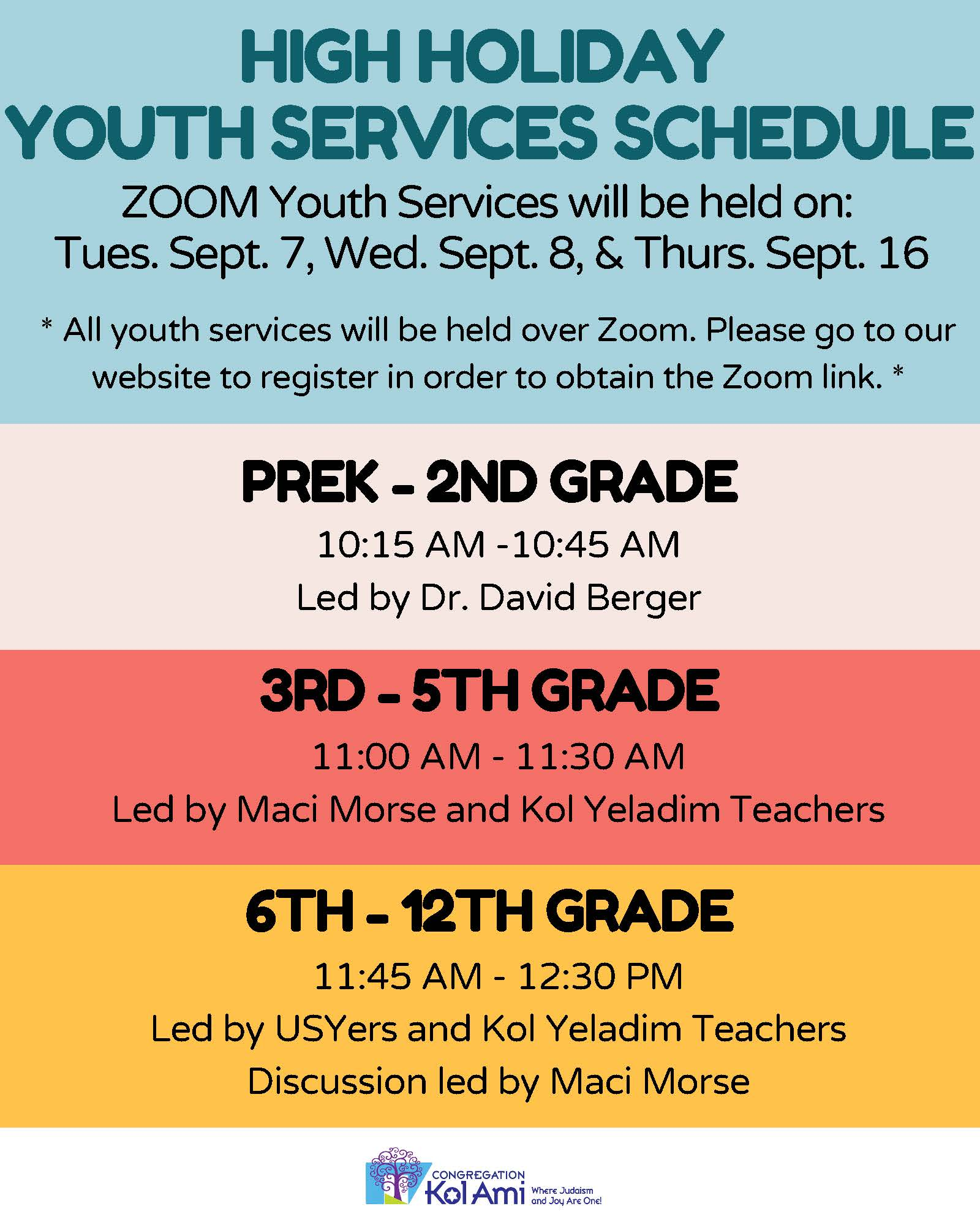 Banner Image for High Holiday Youth Services on Zoom : PreK- 2nd Grade